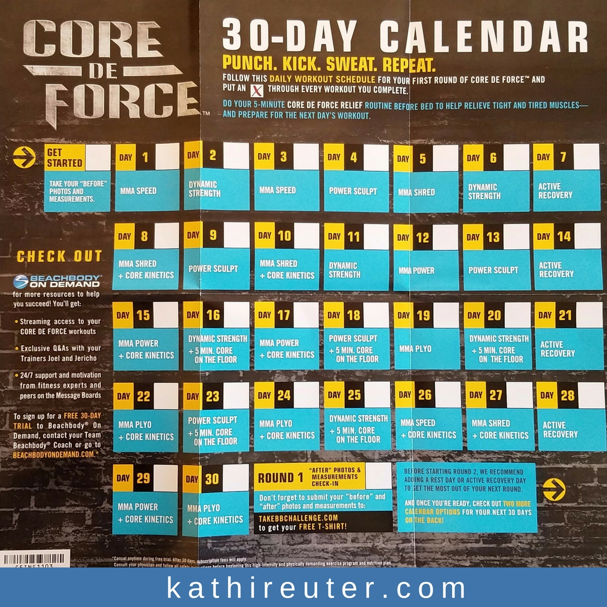 Core De Force 30 Day Calendar