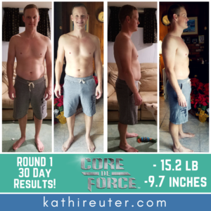 30 day results for a man core de force workout mma program
