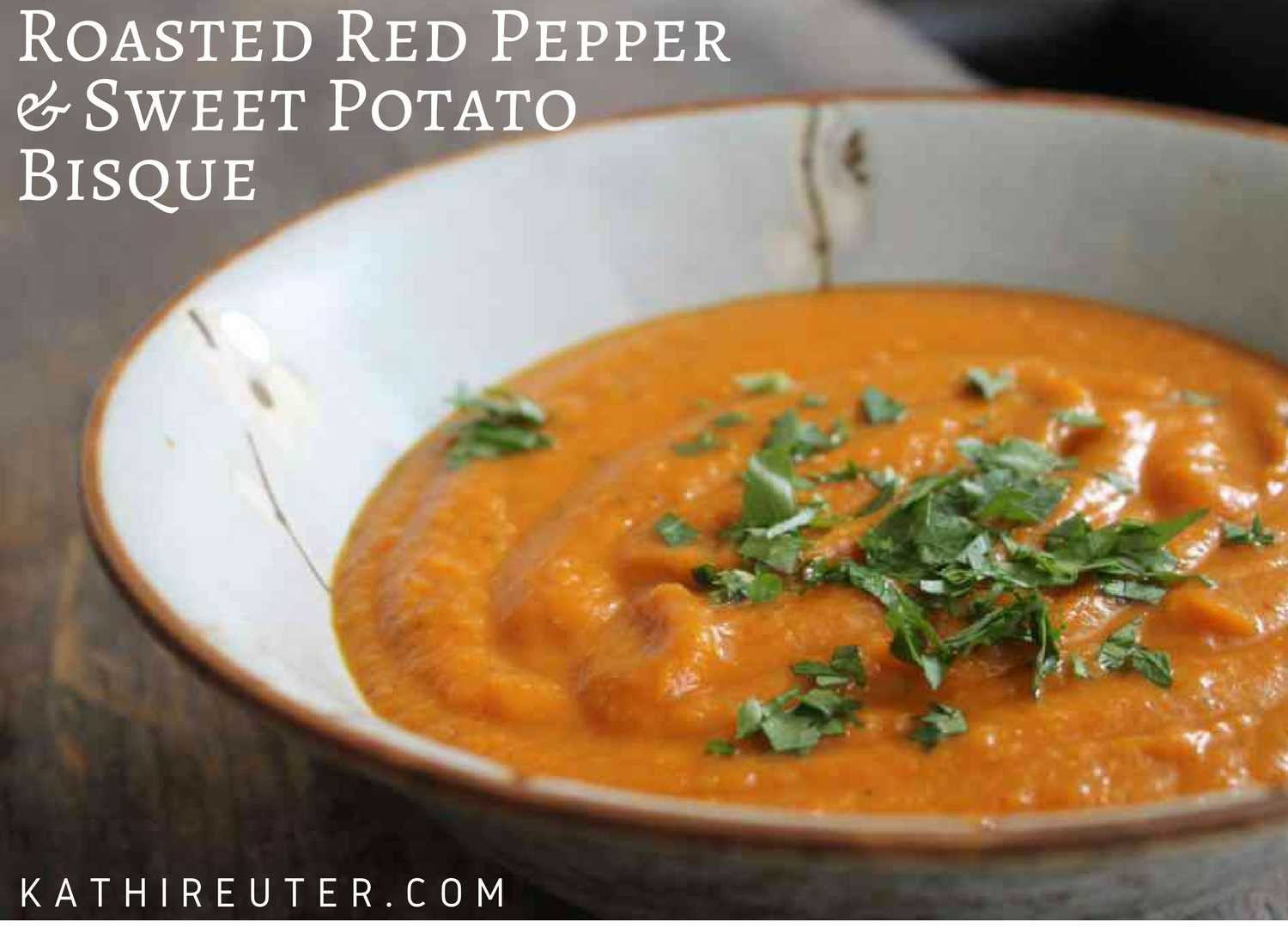 Roasted Red Pepper & Sweet Potato Bisque | Clean Eating Soup Recipe